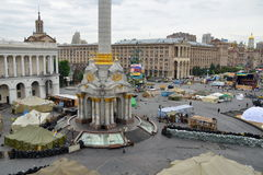 Independence square (Maidan Nezalezhnosti) afer the Revolution, Kiev, Ukraine Royalty Free Stock Image