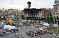 Independence square (Maidan Nezalezhnosti) afer the Revolution, Kiev, Ukraine Royalty Free Stock Photo