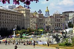 Independence Square, (Maidan Nezalezhnosti) in Kiev, Ukraine royalty free stock photography