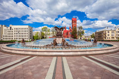 Independence Square in Minsk. Fountain and Church of Saints Simon and Helena on the Independence Square in Minsk, Belarus Royalty Free Stock Photo