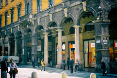 Independence street in full day with people, Bologna, Italy Royalty Free Stock Photos