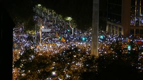Independence supporters outraged by imprisonment of Sànchez and Cuixart. Night with thousands of candles Royalty Free Stock Images