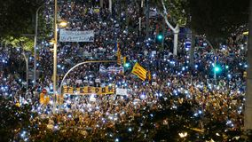 Independence supporters outraged by imprisonment of Sànchez and Cuixart. Night with thousands of candles Stock Images