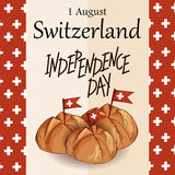 Independence Swiss national day. Hand drawn poster design with lettering. Switzerland republic day greeting card. Vector illustrat Stock Photos