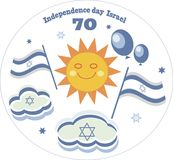 Independencee day Israel gift card. Greeting card,independence day ISRAEL ,with funny sun face balloons,flags,white backround,round frame Royalty Free Stock Images