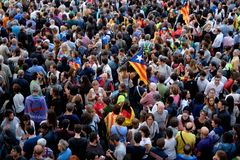 Independencia Cataluña 20/09/2017 de la demostración Imagenes de archivo