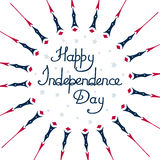 Independencia feliz de América del día, en un fondo blanco, extracto, con las estrellas Imágenes de archivo libres de regalías