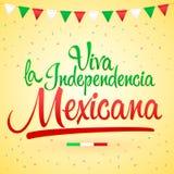 Independencia Mexicana, Lange levende Mexicaanse onafhankelijkheids Spaanse tekst, het thema patriottische viering van Vivala van vector illustratie