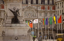 Independencia square. Un lisbon, portugal Royalty Free Stock Photo