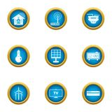 Independent energy icons set, flat style. Independent energy icons set. Flat set of 9 independent energy vector icons for web isolated on white background Vector Illustration