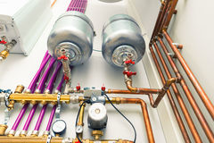 Independent heating system in boiler-room Royalty Free Stock Photography