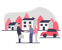 Free Independent Living Of Senior Couple Concept Vector Illustration. Senior Couple With A Realtor Buying A House In The Retirement Stock Photo - 190316260
