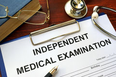 Independent Medical Examination IME form. Stock Photos