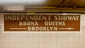 Independent Subway - New York City Subway System Stock Photo
