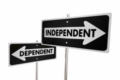 Independent Vs Dependent One Way Street Road Sign Flipping. 3d Illustration Royalty Free Stock Images