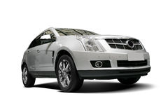 A Independent white static SUV in white background Stock Photo