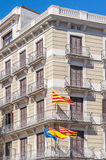 Independentist signs and flags on Barcelona streets. Stock Photos
