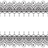 Inder, Mehndi-Hennastrauchlinie Spitzeelement mit Kreisen und Wellenmusterkarte für Tätowierung auf weißem Hintergrund Stockbilder