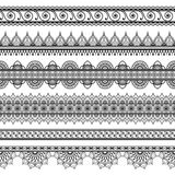 Inder, Mehndi-Hennastrauchsatz von sechs Linie Spitzeelementmuster für Tätowierung auf weißem Hintergrund Stockfotos