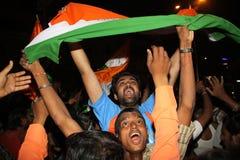 Inder party auf Straße für WC-Kricket Lizenzfreies Stockfoto