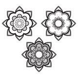 Inder, rundes Muster oder Hintergrund der Blumentätowierung Mehndi-Hennastrauches drei Stockfoto