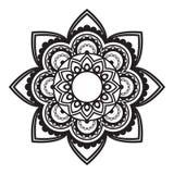 Inder, rundes Muster oder Hintergrund der Mehndi-Hennastrauchblumentätowierung Stockbilder