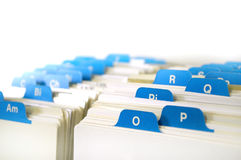 Index of Business Cards. Index cards organized in a row by letter of the alphabet Stock Images