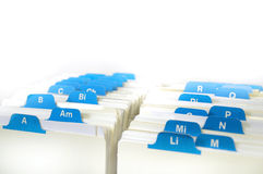 Index of Business Cards. Index cards organized in a row by letter of the alphabet royalty free stock image