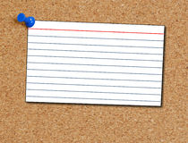 Index card on corkboard Stock Photo