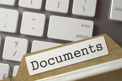 Index Card Documents. 3D. File Card with Documents on Background of White PC Keypad. Archive Concept. Closeup View. Toned Blurred  Illustration. 3D Rendering Stock Image