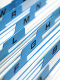 Index Card File System. Close-up detail of office card filing system Stock Images
