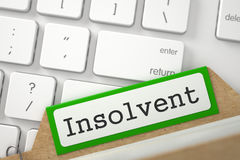Index Card with Inscription Insolvent. 3D. Royalty Free Stock Photography