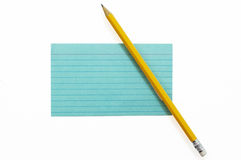 Index Card with Pencil 2 Stock Image