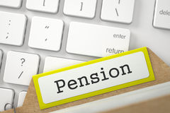 Index Card with Pension. 3D. Stock Photo