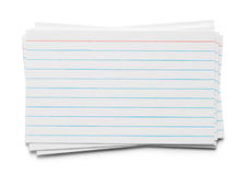 Index Card Pile. Pile of Index Cards Isolated on White Background stock photos