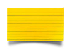 Index Card Yellow. Single Yellow Index Card Isolated on White Background royalty free stock images