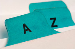 Index cards. Green index cards A and Z Royalty Free Stock Image