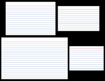 Index Cards. In four popular sizes: 4 x 6, 3 x 5, 5 x 8, and A7 (ISO). Each card is individually grouped and is actual size Royalty Free Stock Photos