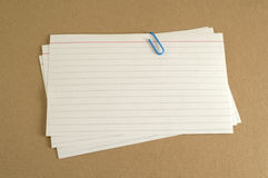 Index Cards on Folder Stock Images