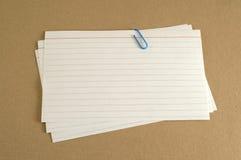 Index Cards on Folder stock images