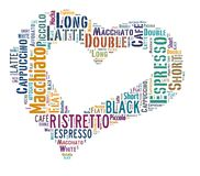 Coffee drinks words cloud collage. Index of coffee drinks words cloud collage, poster background, love coffee concept on heart shape royalty free illustration