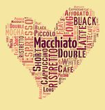 Coffee drinks words cloud collage. Index of coffee drinks words cloud collage, poster background, love coffee concept on heart shape vector illustration