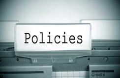 Index de dossier de s'inscrire de politiques Photographie stock libre de droits