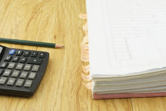 Index document sales receipt with calculator and pencil Royalty Free Stock Photo