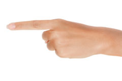 Index Finger. A hand with an index finger pointing on white stock image