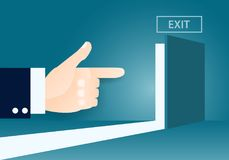 Index finger of businessman pointing to the light at the door. Idea cartoon business concept,the index finger of businessman is pointing to the light at the Stock Photography