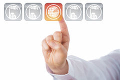Index Finger Highlighting Geothermal Energy Icon Stock Photo