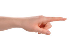 Index finger pointing direction Royalty Free Stock Photo