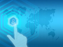 The index finger presses icon on map man Stock Photo