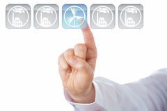 Index Finger Selecting Blue Wind Energy Icon Stock Photos